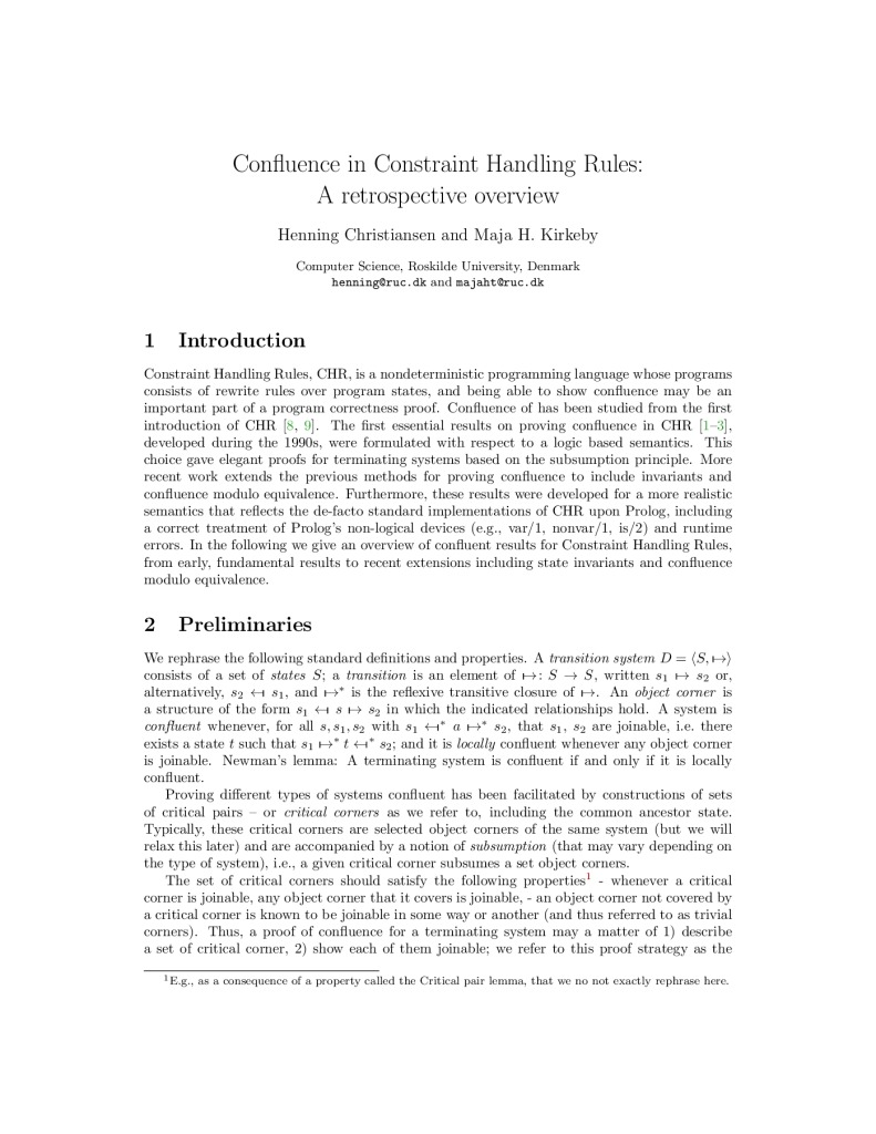 Confluence in Constraint Handling Rules (invited paper)
