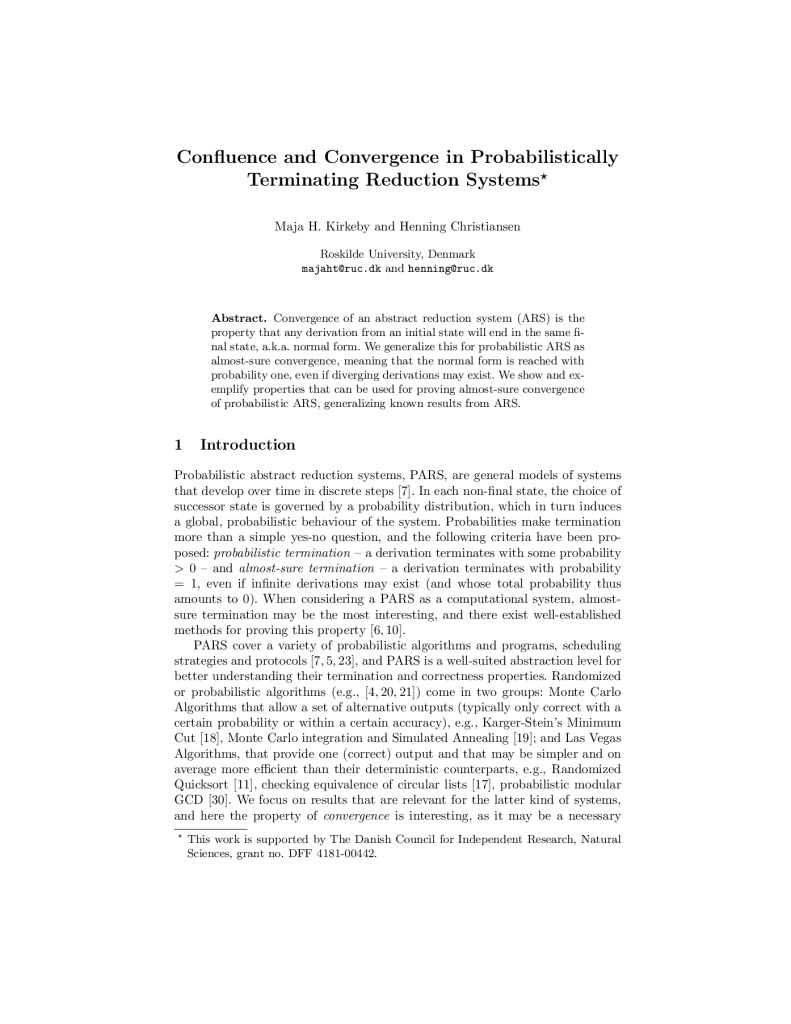 Confluence and Convergence in Probabilistically Terminating Reduction Systems